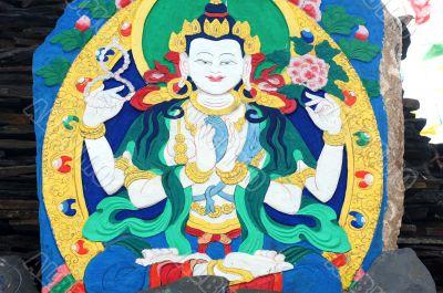 Ancient wall painting art of buddha