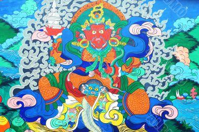 Ancient Tibetan wall painting art of buddha
