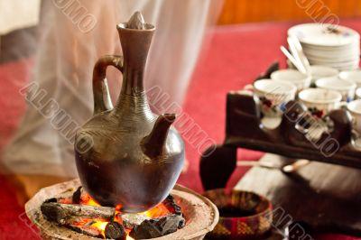 Brewing coffee with Jebena using coal