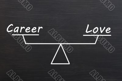 Balance of career and love on a Smudged blackboard background