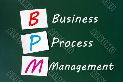 Acronym of BPM - Business Process Management written on a chalkboard