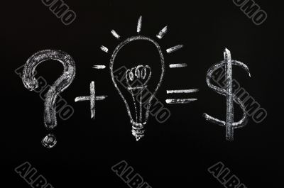 Conceptual idea of light bulb drawn on black chalkboard