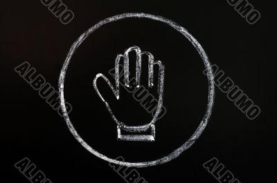 Chalk drawing of stop symbol on blackboard background
