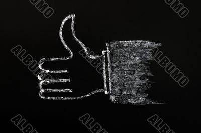 Chalk drawing of thumb up sign on blackboard background