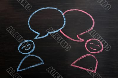 Chalk drawing of blank speech bubbles with human figures