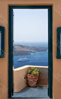 Sea view through the open door