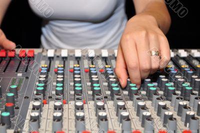 Hand of woman DJ