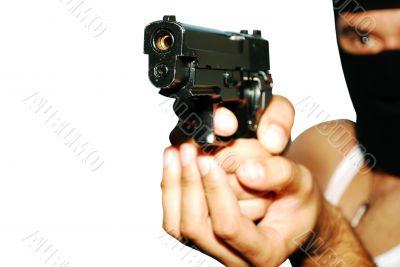 man holding up a gun