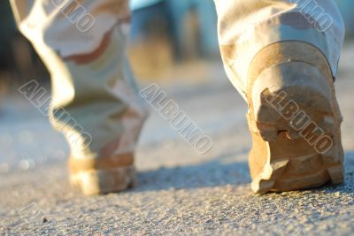 soldier boots walking