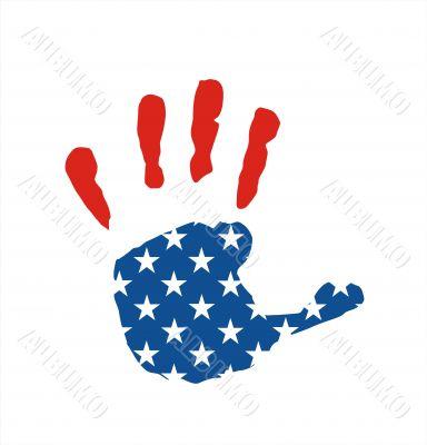 usa flag hand