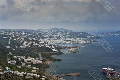 Mykonos island view at spring rainy day