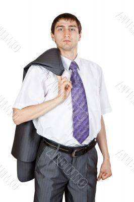 businessman, a jacket over his shoulder in the studio