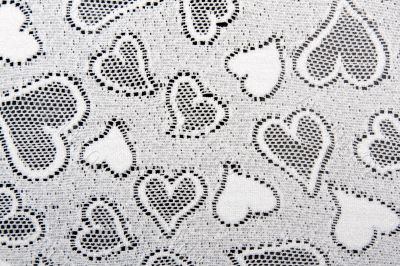white lace patterned with hearts