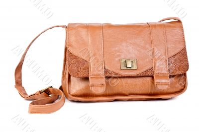 Brown leather handbag fashionable women