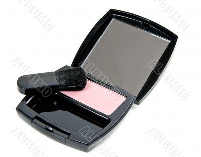 cosmetic set rouge with mirror and brush