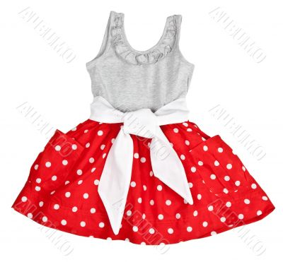 Red baby dress in polka dots
