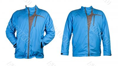 a collage of two blue sports jacket