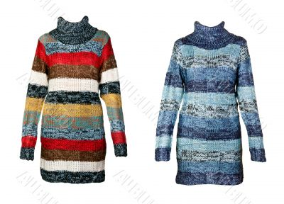 collage of the two female striped sweater