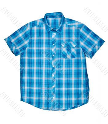 checkered blue shirt with short sleeves