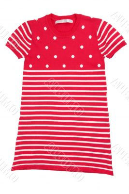 red baby striped knit dress