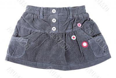 gray velvet mini skirt
