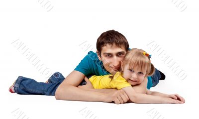 dad and little daughter lying on the floor