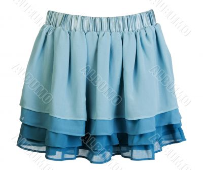 Blue satin mini skirt