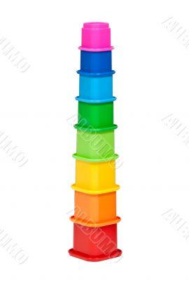 plastic multi-colored children`s pyramid