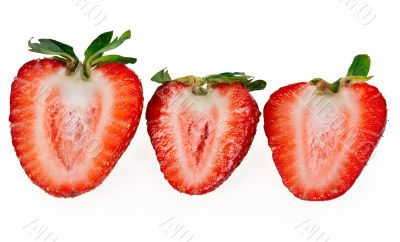 three delicious strawberry halves