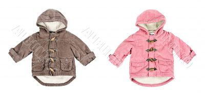 A collage made up of two corduroy jackets, warm on a white backg