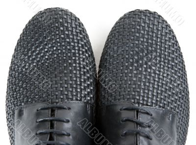 stylish pair of black leather shoes