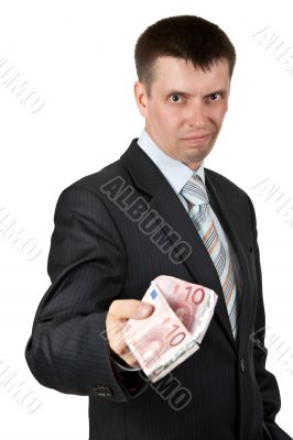 businessman casually gives the euro