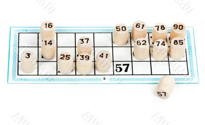 Wooden barrels lotto numbers on the card carton