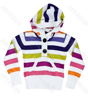 children`s striped sweater with a hood