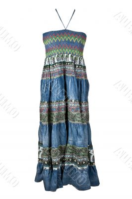 Women`s long denim dress with embroidery