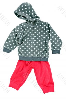 gray hooded sweater children`s polka dot pants with red