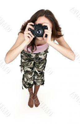 girl in khaki pants photographed