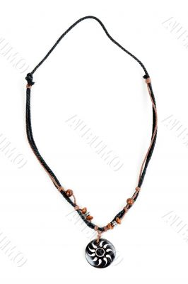 ethnic necklace with black cord
