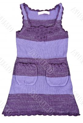 purple knitted baby dress with pockets
