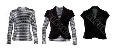 A collage of patterned blouses with `crows feet` and a black ves