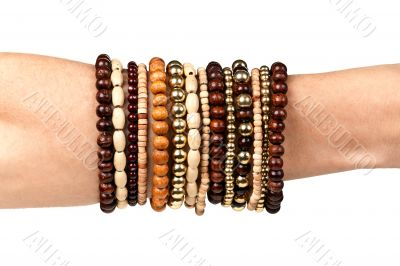 woman`s hand with the bracelets