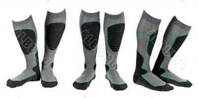 A collage of three pairs of gray ski socks