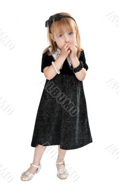little girl in a dress on a white background