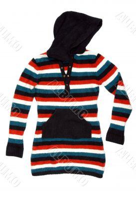 warm striped ladies jacket with hood