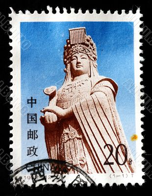 CHINA - CIRCA 1993: A stamp printed in China shows the statue of Goddess Matsu, circa 1993