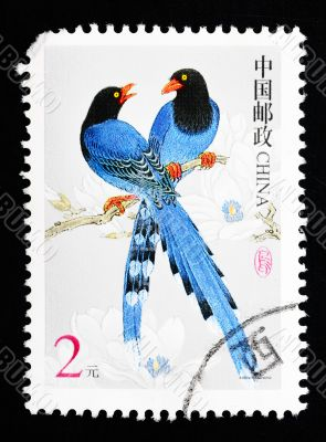 CHINA - CIRCA 2002: A Stamp printed in China shows image of two blue birds, circa 2002