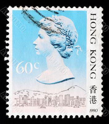 HONGKONG - CIRCA 1990: A Stamp printed in Hongkong shows Queen Elizabeth portrait, circa 1990
