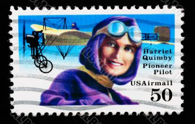 USA - CIRCA 1993 : stamp printed in USA showing Harriet Quimbly American pioneer pilot, circa 1993