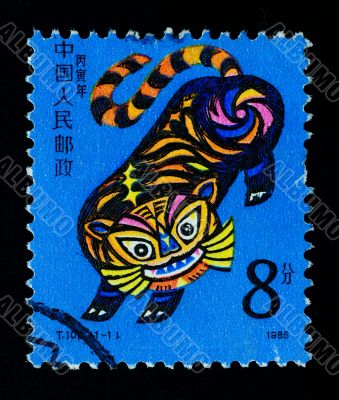 CHINA - CIRCA 1986: A Stamp printed in China shows the Year of Tiger , circa 1986