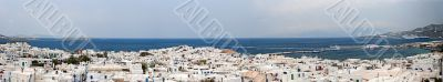Panorama of Mykonos city and port